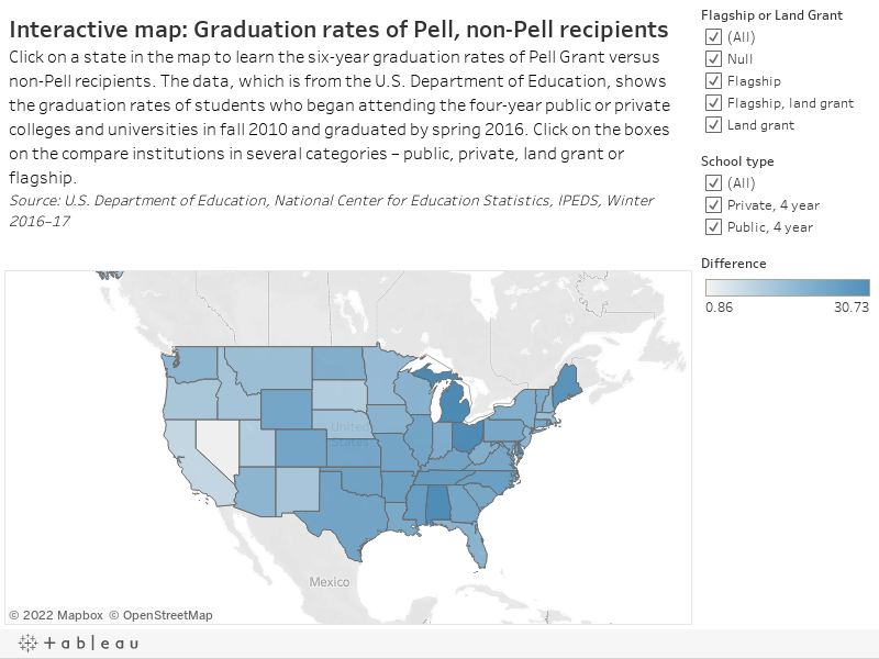 Interactive map: Graduation rates of Pell, non-Pell recipientsClick on a state in the map to learn the six-year graduation rates of Pell Grant versus non-Pell recipients. The data, which is from the U.S. Department of Education, shows the graduation rate