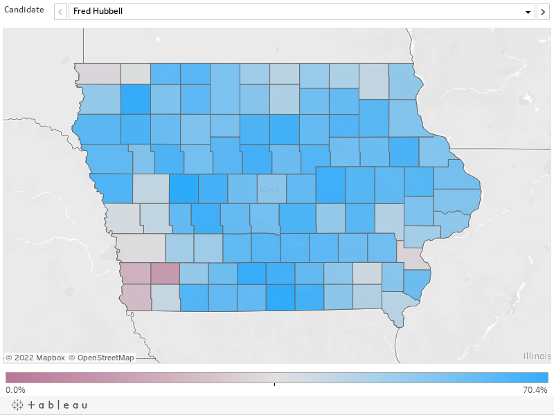 Fred Hubbell, Iowa's Democratic nominee for governor, swept 96 of the state's 99 counties. He only lost Mills County (to Cathy Glasson); Montgomery County (to John Norris) and Louisa County (to Nate Boulton, who suspended his campaign in May.) He won a ma
