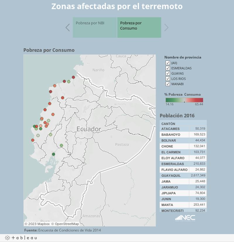 Zonas afectadas por el terremoto