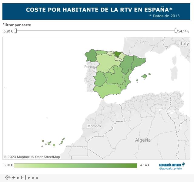 Mapa coste por CCAA