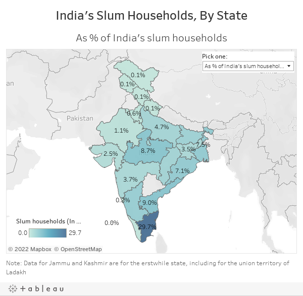 India's Slum Households, By State