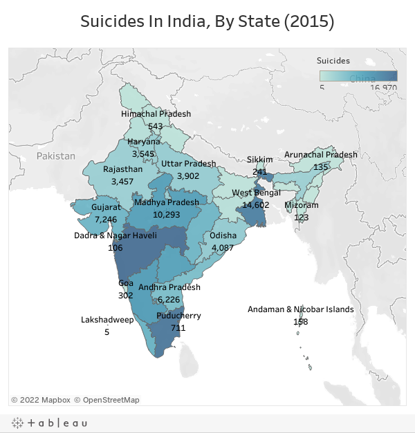 Suicides In India, By State (2015)