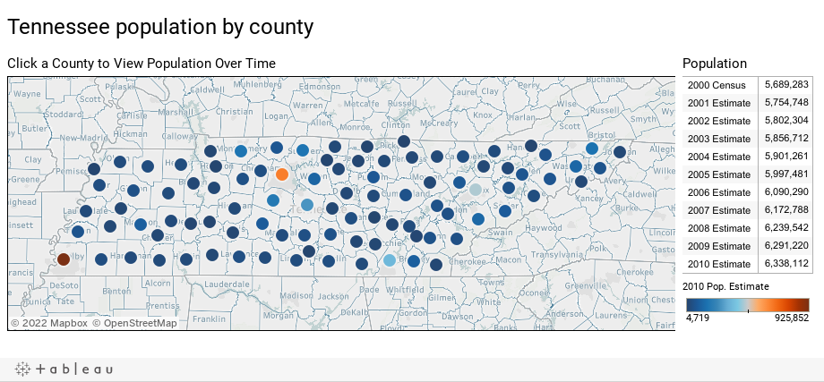 Tennessee population by county
