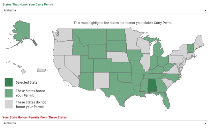 Workbook: Concealed Carry Reciprocity Map - Embed to your Site