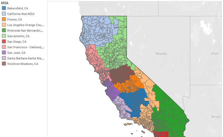 Workbook MSA Map of California