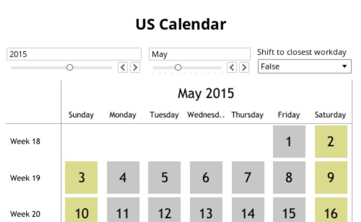 Workbook: US Calendar with Public Holidays