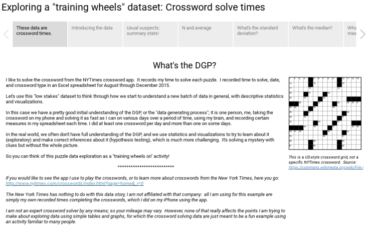 Workbook Exploring Data With Training Wheels On Crossword Puzzle Solve Times
