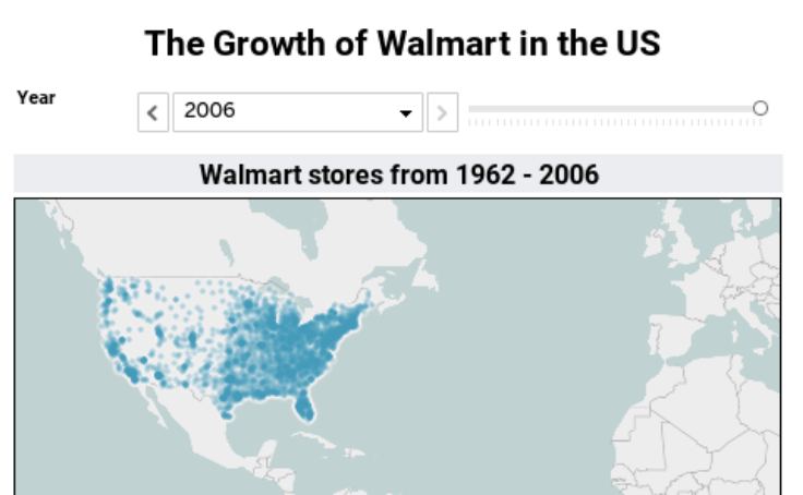 Workbook The Growth Of Walmart In The US Tableau Version - Us map walmart
